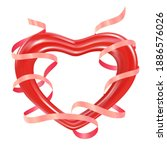 red heart with a pink ribbon...   Shutterstock .eps vector #1886576026