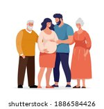 big happy family  several... | Shutterstock .eps vector #1886584426