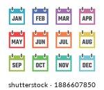 12 month calendar sign set...   Shutterstock .eps vector #1886607850