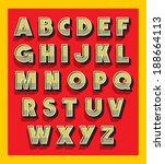retro vintage font type. vector ... | Shutterstock .eps vector #188664113