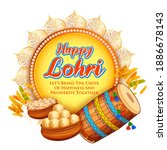 happy lohri holiday background... | Shutterstock .eps vector #1886678143