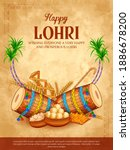 happy lohri holiday food... | Shutterstock .eps vector #1886678200
