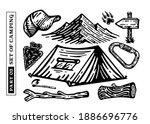 big vector set of camping...   Shutterstock .eps vector #1886696776