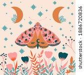Bright Folk Art Moths Pattern...