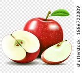 whole and half of apple. sliced ... | Shutterstock .eps vector #1886722309