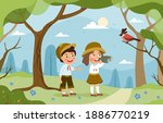 a young brother and sister... | Shutterstock .eps vector #1886770219