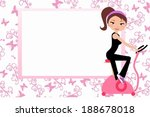 girl on the exercise bike | Shutterstock .eps vector #188678018