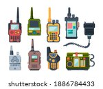 radio transceiver. talk devices ... | Shutterstock .eps vector #1886784433