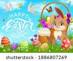 happy easter holiday vector... | Shutterstock .eps vector #1886807269