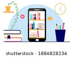 E-learning banner. Online training courses, e-books, study guides. Vector illustration for web design, banners, marketing, printed materials.