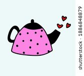 vector doodle   teapot with... | Shutterstock .eps vector #1886848879