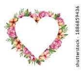 heart frame of delicate spring...   Shutterstock . vector #1886859436
