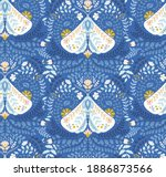 Seamless Vector Blue Folk Art...
