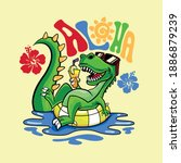 summer pool party.dinosaur... | Shutterstock .eps vector #1886879239