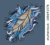 vintage ethnic vector feathers... | Shutterstock .eps vector #188691578