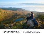 Hiker Man Sitting On The Big...