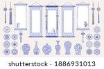 set of hand drawn oriental... | Shutterstock .eps vector #1886931013