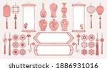 set of hand drawn oriental... | Shutterstock .eps vector #1886931016