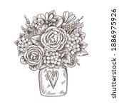 hand drawn romantic bouquet of...   Shutterstock .eps vector #1886975926