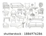 furniture collection. vector... | Shutterstock .eps vector #1886976286