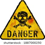grungy style danger sign with... | Shutterstock .eps vector #1887000250