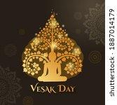 vesak day with buddha sitting... | Shutterstock .eps vector #1887014179