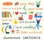 read the book. set of different ... | Shutterstock .eps vector #1887024076