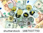 various cryptocurrency coins on ... | Shutterstock . vector #1887037750