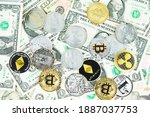various cryptocurrency coins on ... | Shutterstock . vector #1887037753