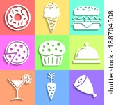 set of flat food icons... | Shutterstock . vector #188704508