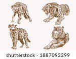 graphical sepia set of wild... | Shutterstock .eps vector #1887092299
