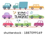set of cute cartoon kids cars... | Shutterstock .eps vector #1887099169