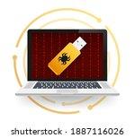 computer virus on usb flash... | Shutterstock .eps vector #1887116026