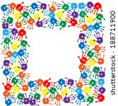 frame of a colorful hand prints   Shutterstock .eps vector #188711900
