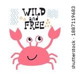 cute vector hand drawn crab... | Shutterstock .eps vector #1887119683