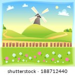 funny landscape with windmill.... | Shutterstock .eps vector #188712440