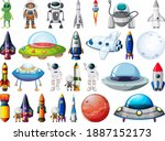 set of space objects and...   Shutterstock .eps vector #1887152173