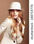 fashion model with blonde curly ... | Shutterstock . vector #188715770