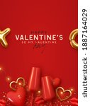happy valentines day.... | Shutterstock .eps vector #1887164029