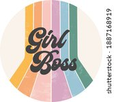 girl boss retro striped grunge... | Shutterstock .eps vector #1887168919
