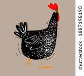hen chicken line hand drawn...   Shutterstock .eps vector #1887198190
