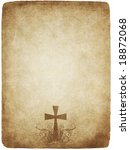 cross on old worn and grungy... | Shutterstock . vector #18872068