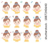 various facial expressions of...   Shutterstock .eps vector #1887240640