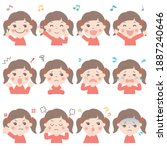 various facial expressions of...   Shutterstock .eps vector #1887240646