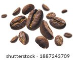 coffee beans levitate on a... | Shutterstock . vector #1887243709