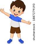 Cartoon Happy Boy Waving Hand