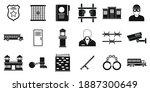 prison arrest icons set. simple ... | Shutterstock .eps vector #1887300649