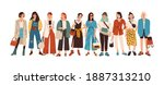 group of fashionable women... | Shutterstock .eps vector #1887313210