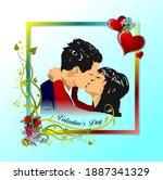 valentine s day. 14 february.... | Shutterstock .eps vector #1887341329