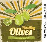 vintage olive label poster... | Shutterstock .eps vector #188735108
